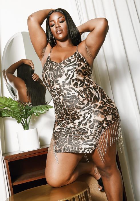Asoph Plus Size Animal Flapper Mini Dress