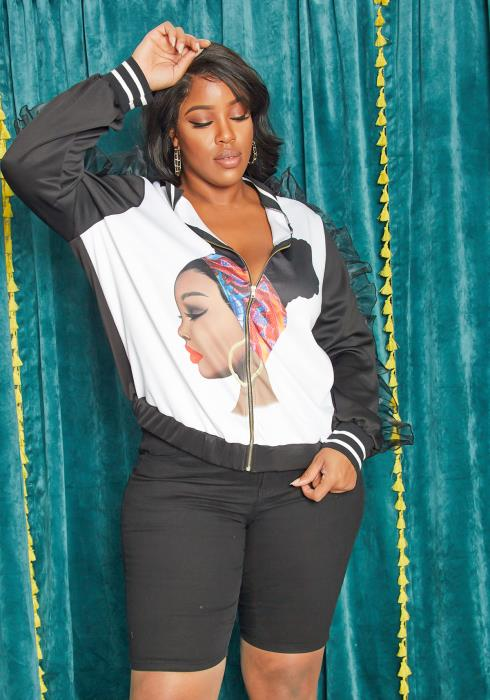 Asoph Plus Size Womens Beauty Complexion Varsity Bomber Jacket
