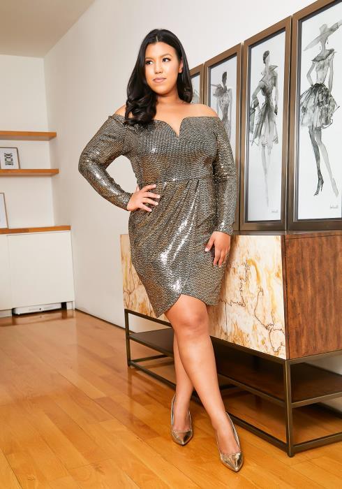 Asoph Plus Size Gold Sequin Wrap Dress