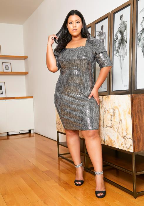Asoph Plus Size Silver Bell Party Dress