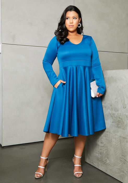 Asoph Plus Size Pleated Party Flared Dress