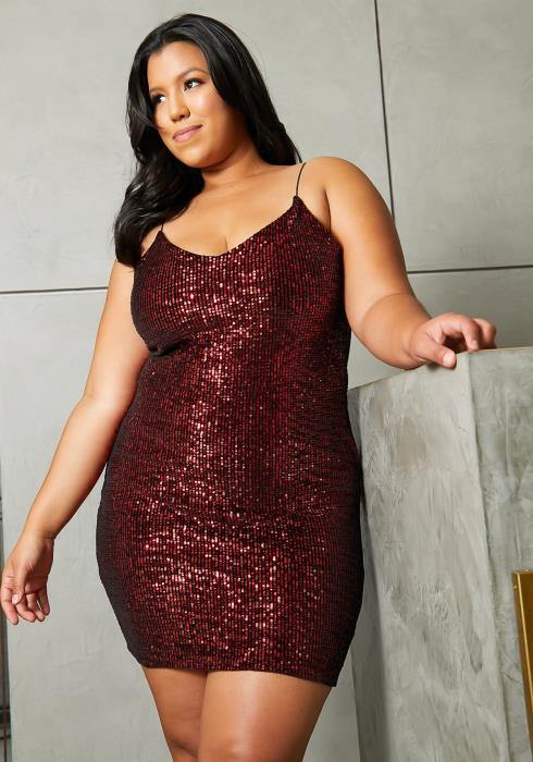 Asoph Plus Size Ruby Sequin Party Dress
