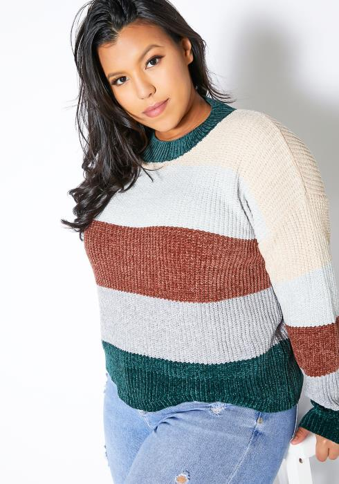 Asoph Plus Size Casual Stripe Sweater