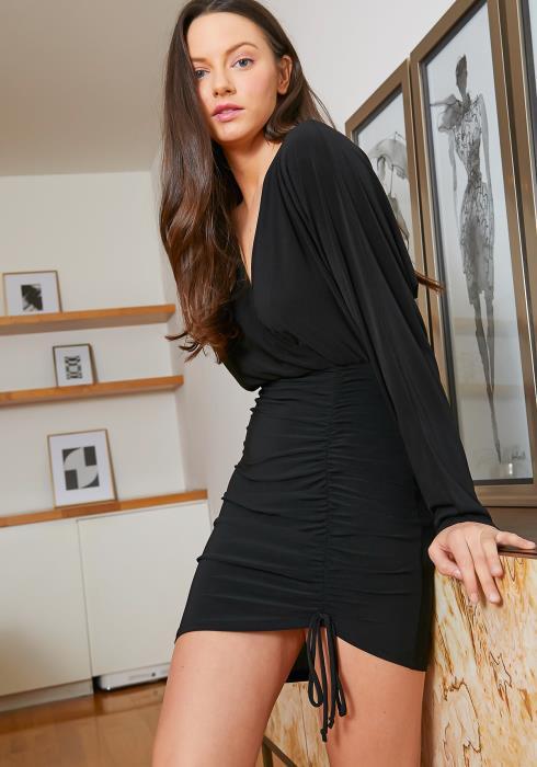 Tansy Faux Drawstring Long Sleeve Womens Classy Mini Dress