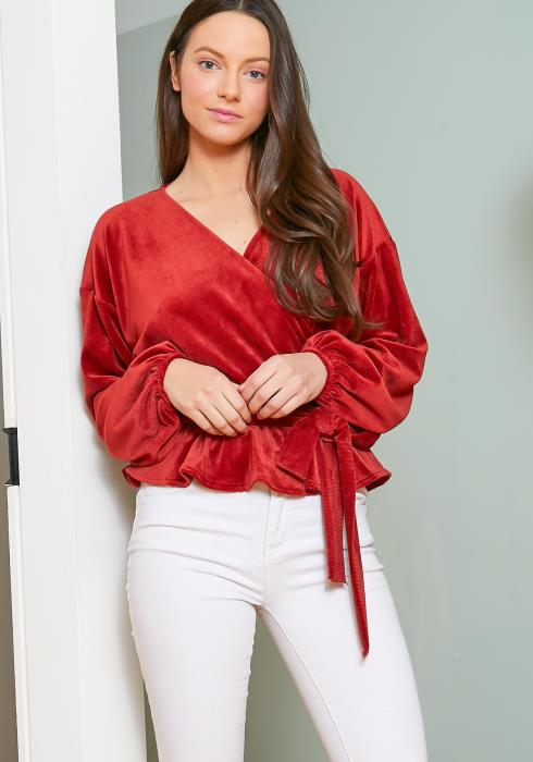 Tansy Womens Ribbed Velvet Soft Wrap Blouse