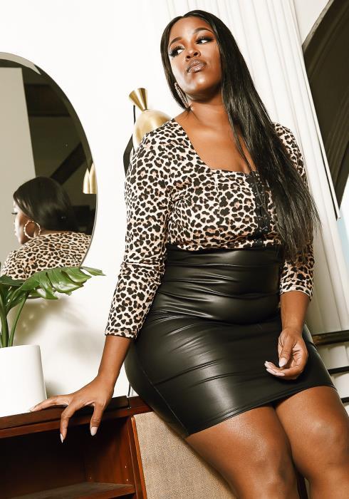 Asoph Leopard Leather Contrast Dress