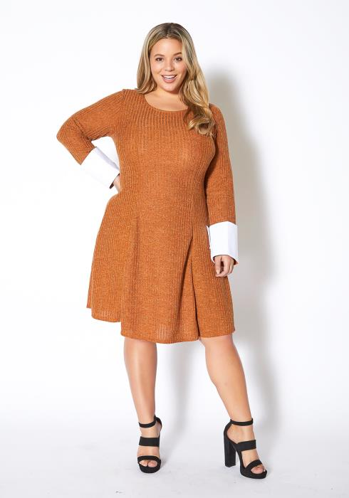 Asoph Plus Size Womens French Knitted Fit & Flare Dress
