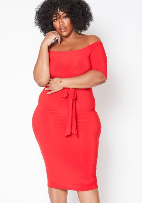 Asoph Plus Size Off The Shoulder Womens Bodycon Party Dress