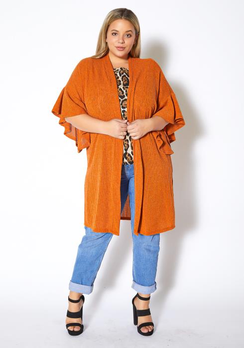 Asoph Plus Size Breezy Afternoon Womens Ruffled Short Sleeve Knit Cardigan