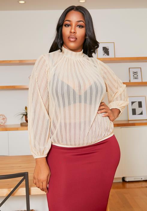 Asoph Plus Size Sheer Metallic Hinted Womens Mock Neck Blouse