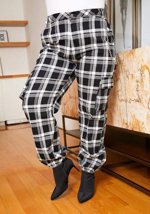 Asoph Plus Size Plaid Chain Pants