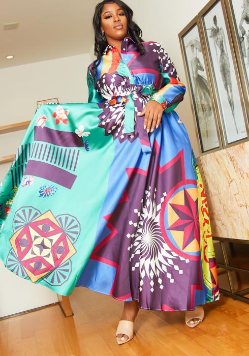Asoph Plus Size Multi Ethnic Print Collared Shirt Maxi Dress