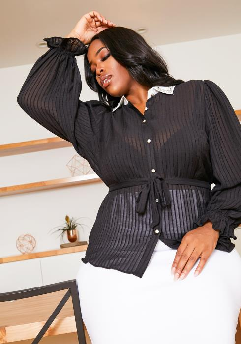 Asoph Plus Size Sheer Removable Collar Womens Blouse