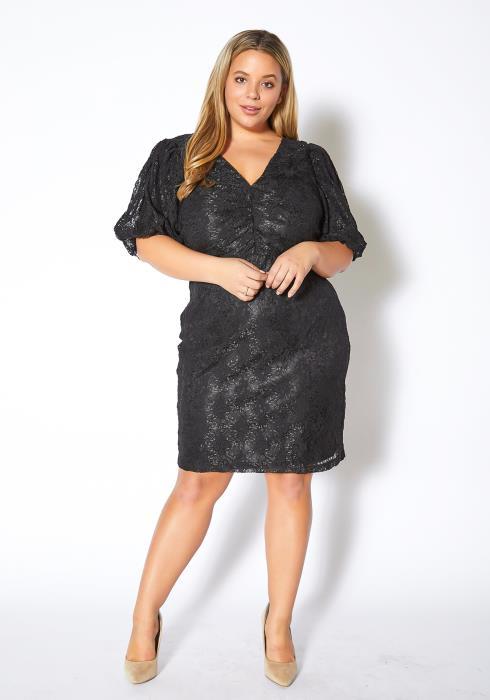 Asoph Plus Size Haute Lace Womens V Neck Mini Dress