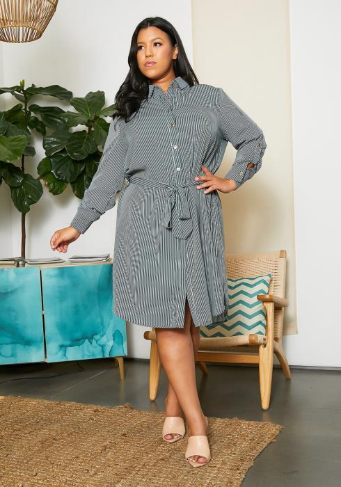 Asoph Plus Size Strip Shirt Dress