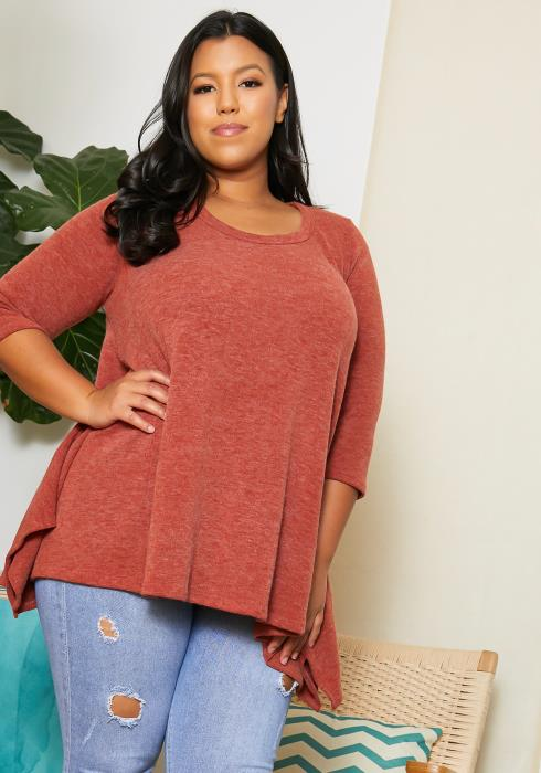 Asoph Plus Size Animal Contrast Sweater Tunic