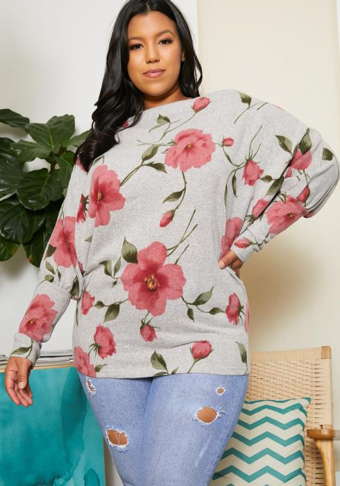 Asoph Plus Size Rose In Fog Sweater