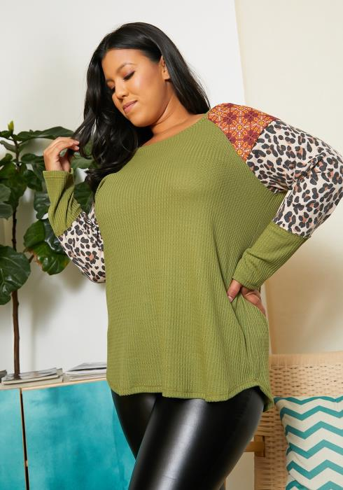 Asoph Plus Size Print Contrast Sweater Top