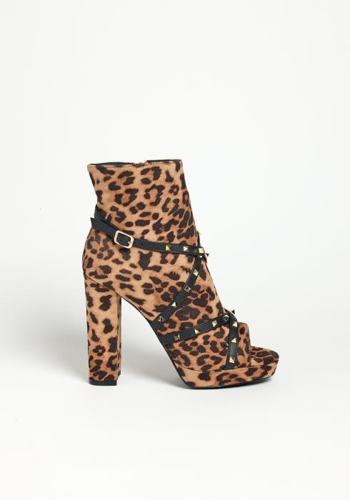Asoph Wild Leopard Open Toe Heel Booties