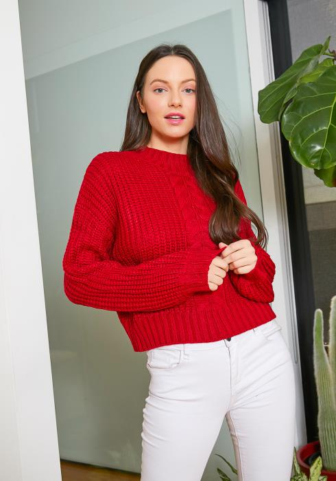 Tansy Fitted Womens Red Cable Knit Sweater