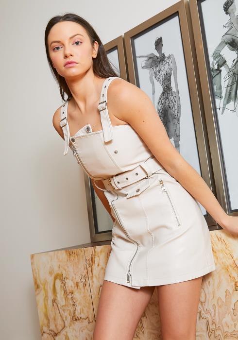Tansy Faux Ivory Leather Womens Moto Cami Mini Dress