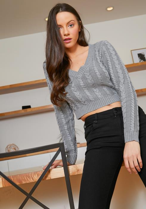 Tansy Womens Gray Cable Knit Crop Fitted Sweater