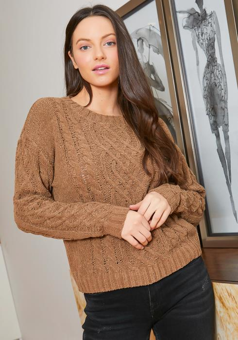 Tansy Womens Mocha Cable Knit Sweater