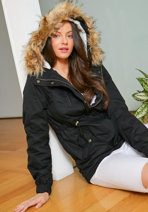 Tansy Faux Fur Lined Womens Hooded Parka Coat