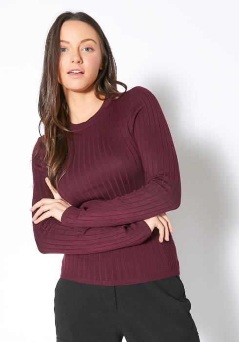 Tansy Burgundy Ribbed Knit Womens Long Sleeve Top