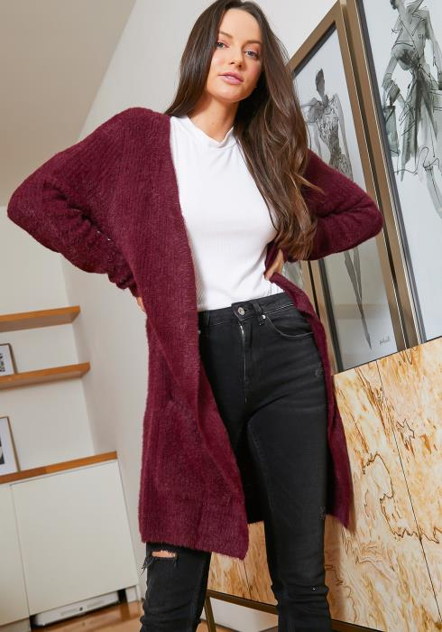 Tansy Longline Shaggy Knit Womens Open Front Cardigan