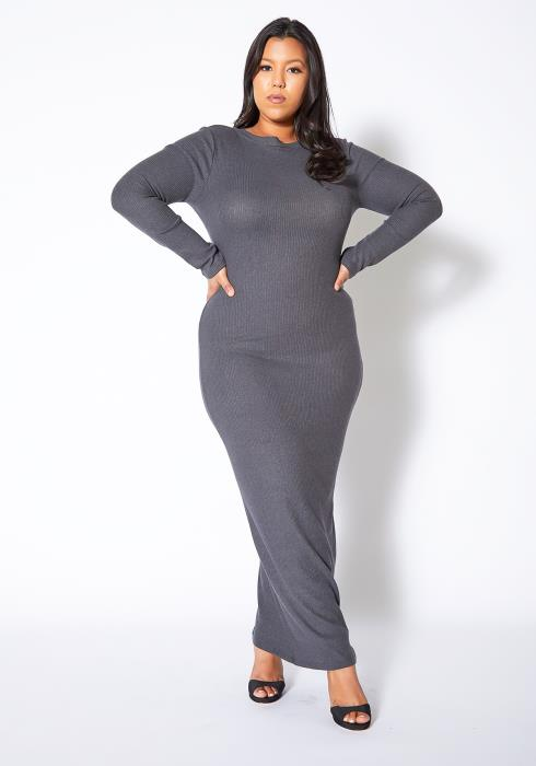 Asoph Plus Size Ribbed Knit Maxi Bodycon Dress