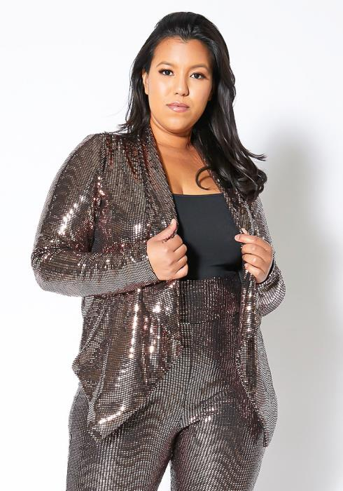 Asoph Plus Size Bronze Goddess Sequin Blazer