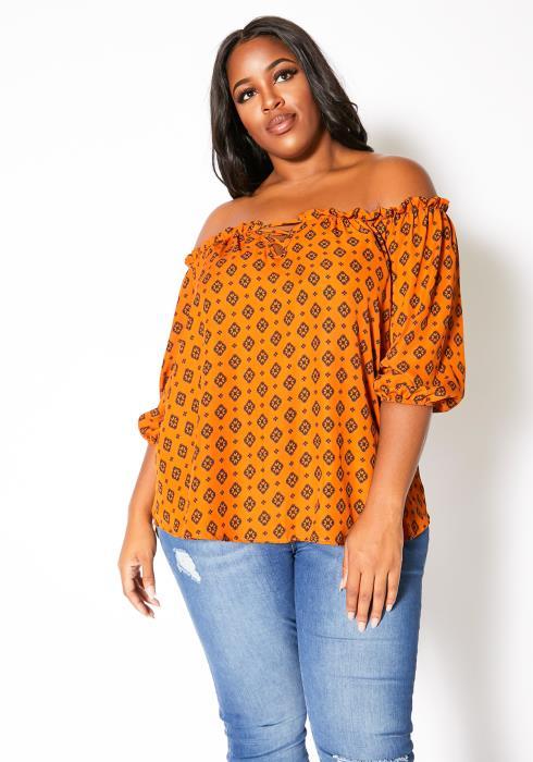 Asoph Plus Size Antique Ikat Patterned Womens Off Shoulder Blouse