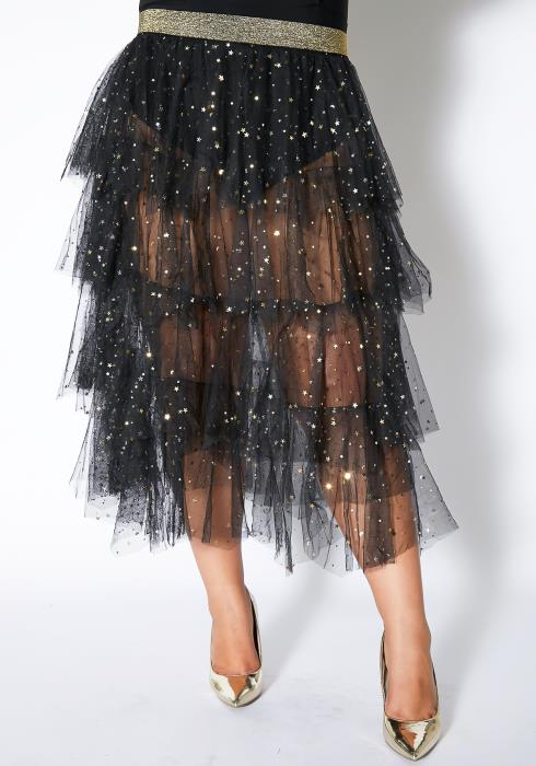 Asoph Plus Size Starry Night Ruffle Skirt
