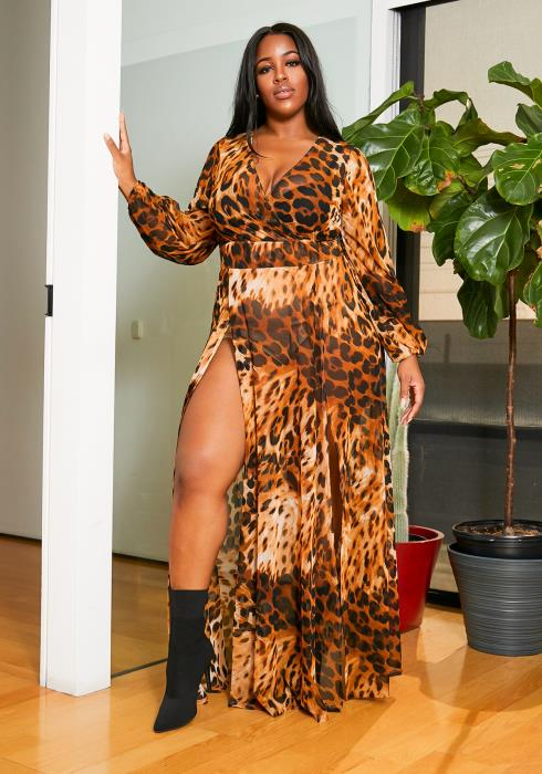 Asoph Plus Size Sheer Wild Leopard Double Slitted Womens Maxi Dress