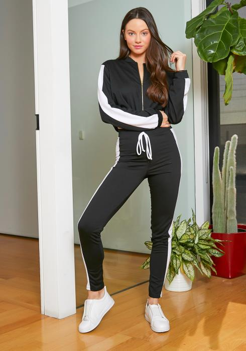 Tansy Single Striped Womens Black Tracksuit Set