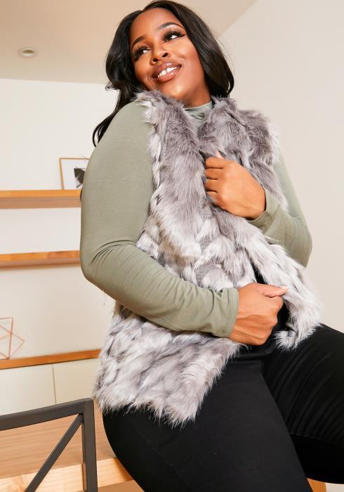 Asoph Plus Size Back Crocheted Womens Faux Fur Vest