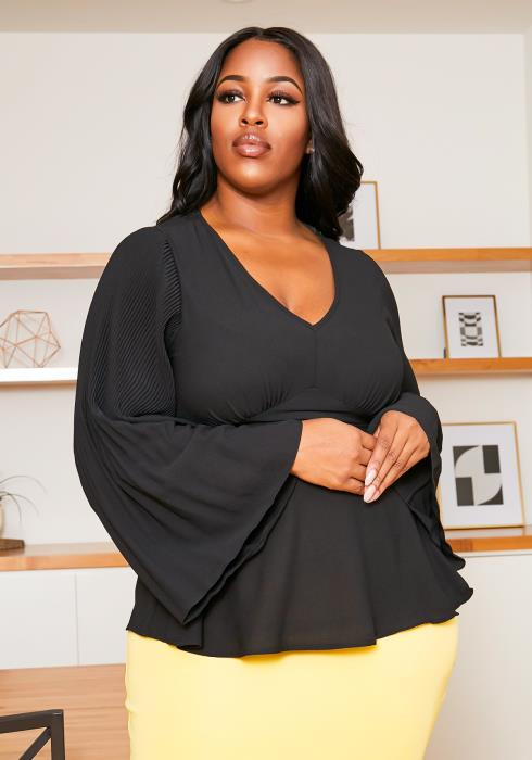 Asoph Plus Size Womens Pleated Bell Sleeves Peplum Blouse