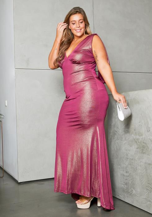 Asoph Plus Size Pink Shine Evening Bridal Maxi Dress