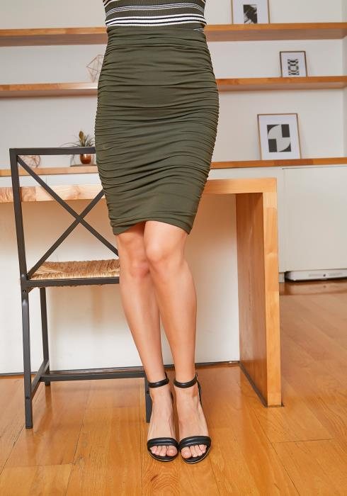 Tansy Ruched Olive Womens Pencil Skirt