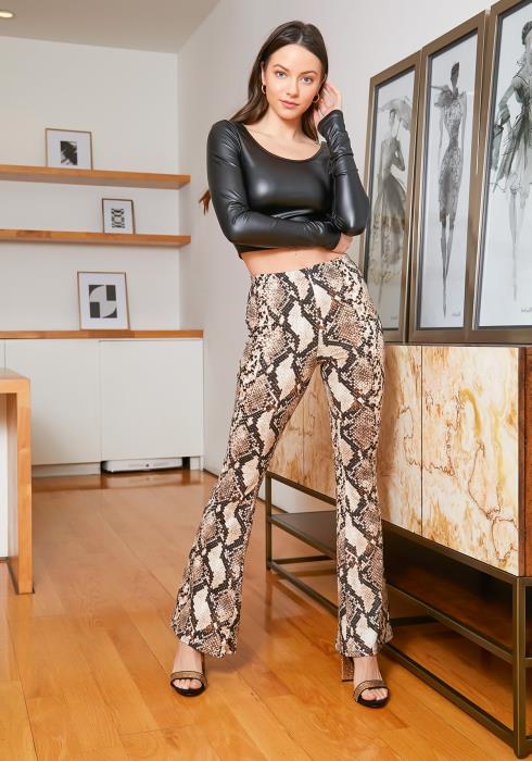 Tansy Brown Snakeskin Women Flare Pants
