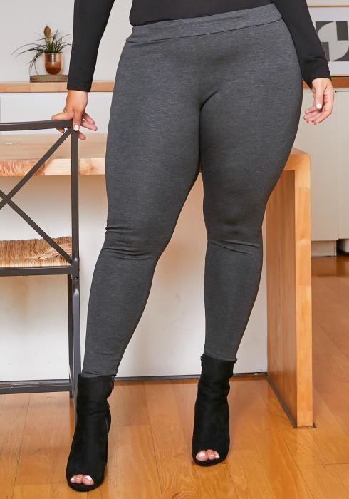 Asoph Plus Size Womens Mid Rise Basic Leggings