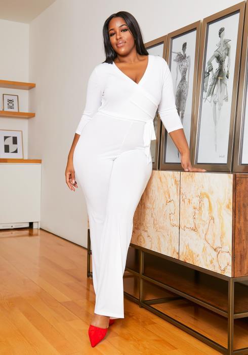 Asoph Plus Size Formal White Flare Leg Womens Jumpsuit