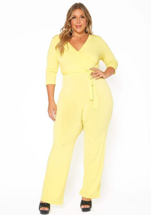 Asoph Plus Size Fancy V Neck Flare Jumpsuit