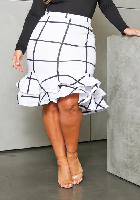 Asoph Curvy Womens Grid Plaid Ruffle Hem Pencil Skirt