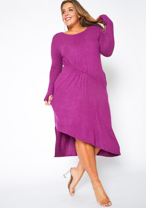 Asoph Plus Size Asymmetric Long Sleeve Womens Fuchsia Midi Dress