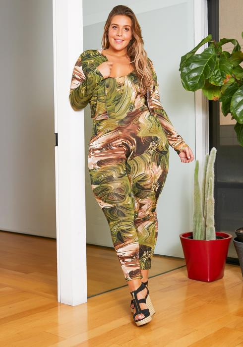 Asoph Curvy Womens Green Marbled Cami Jumpsuit & Crop Jacket Set