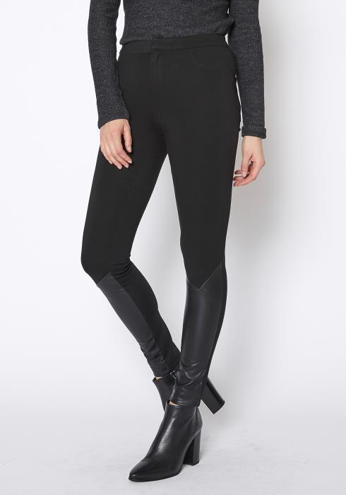 Ro & De Black Leather Contrast Skinny Pants