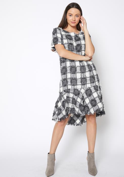 Ro & De Fuzzy Fringe Plaid Midi Dress