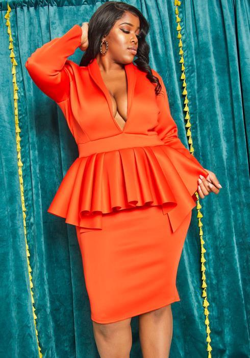 Asoph Plus Size Deep V Peplum Party Dress